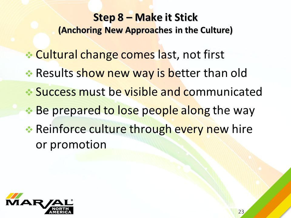 Step 8 – Make it Stick (Anchoring New Approaches in the Culture)