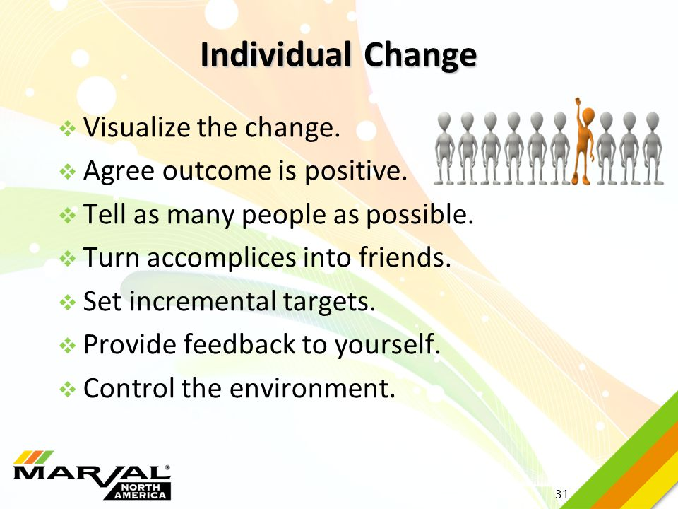 Individual Change Visualize the change. Agree outcome is positive.