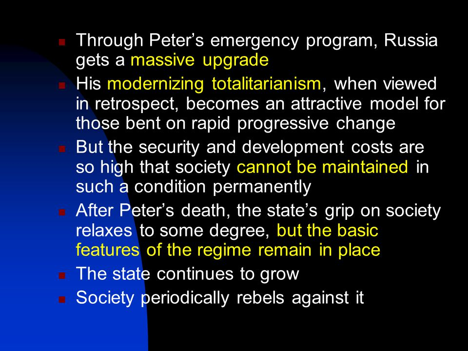 Through Peter's emergency program, Russia gets a massive upgrade