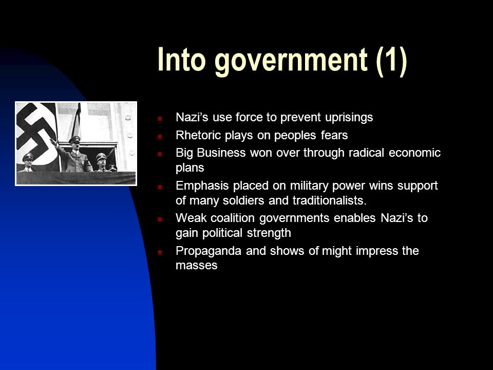 Into government (1) Nazi's use force to prevent uprisings