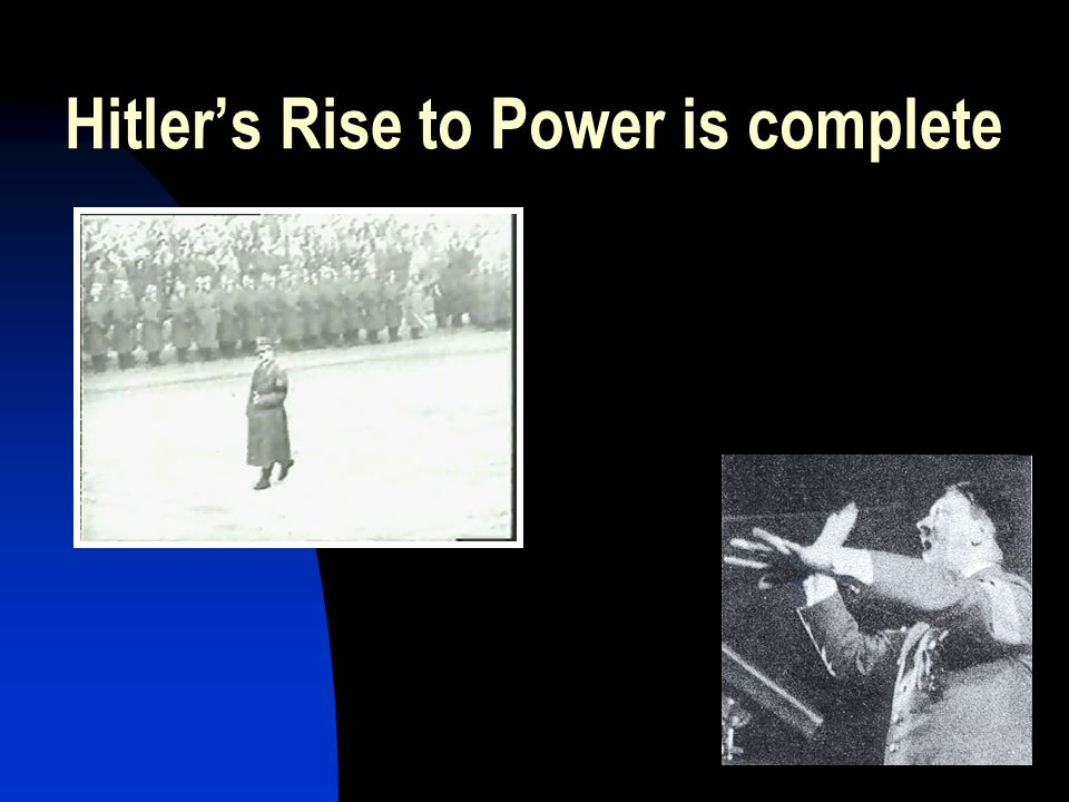 Hitler's Rise to Power is complete