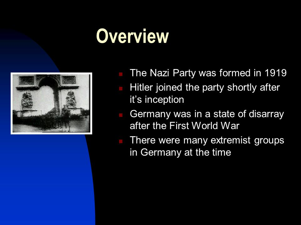 Overview The Nazi Party was formed in 1919