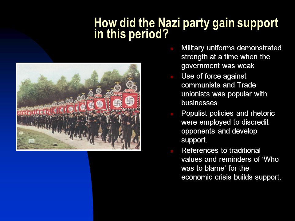 How did the Nazi party gain support in this period