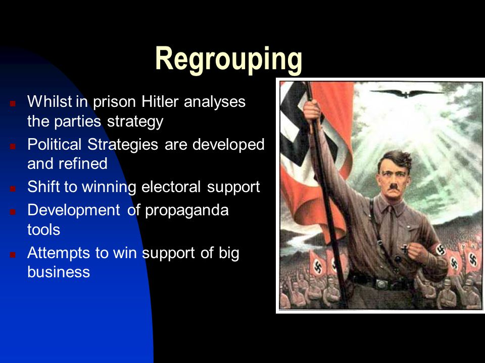 Regrouping Whilst in prison Hitler analyses the parties strategy