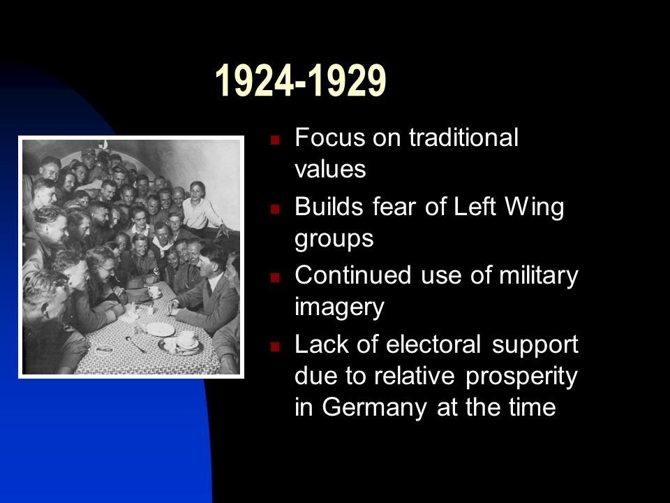 1924-1929 Focus on traditional values Builds fear of Left Wing groups