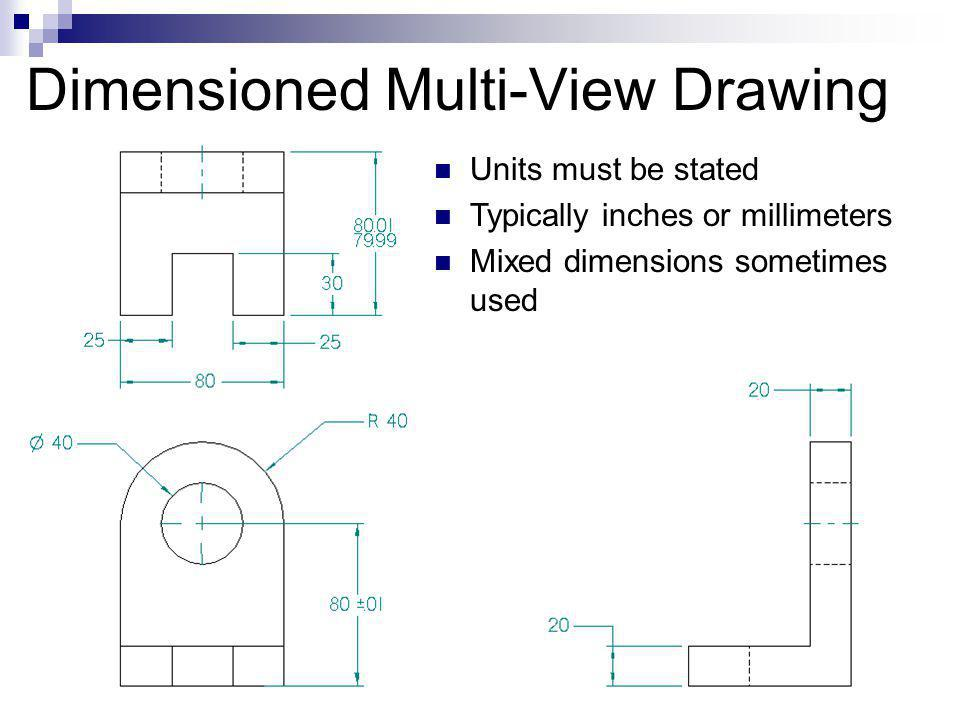 Dimensioned Multi-View Drawing