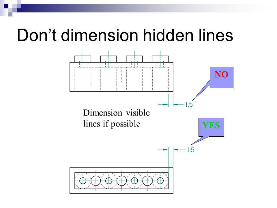 Don't dimension hidden lines