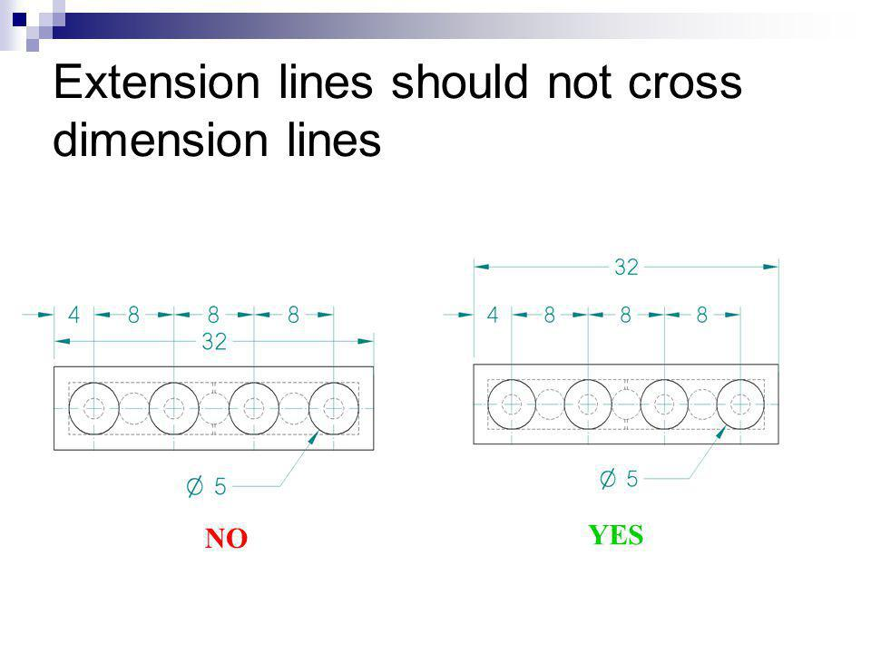 Extension lines should not cross dimension lines