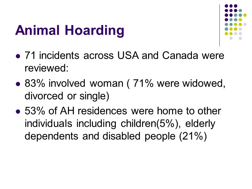 Animal Hoarding 71 incidents across USA and Canada were reviewed:
