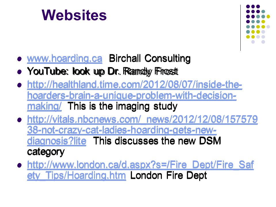 Websites www.hoarding.ca Birchall Consulting