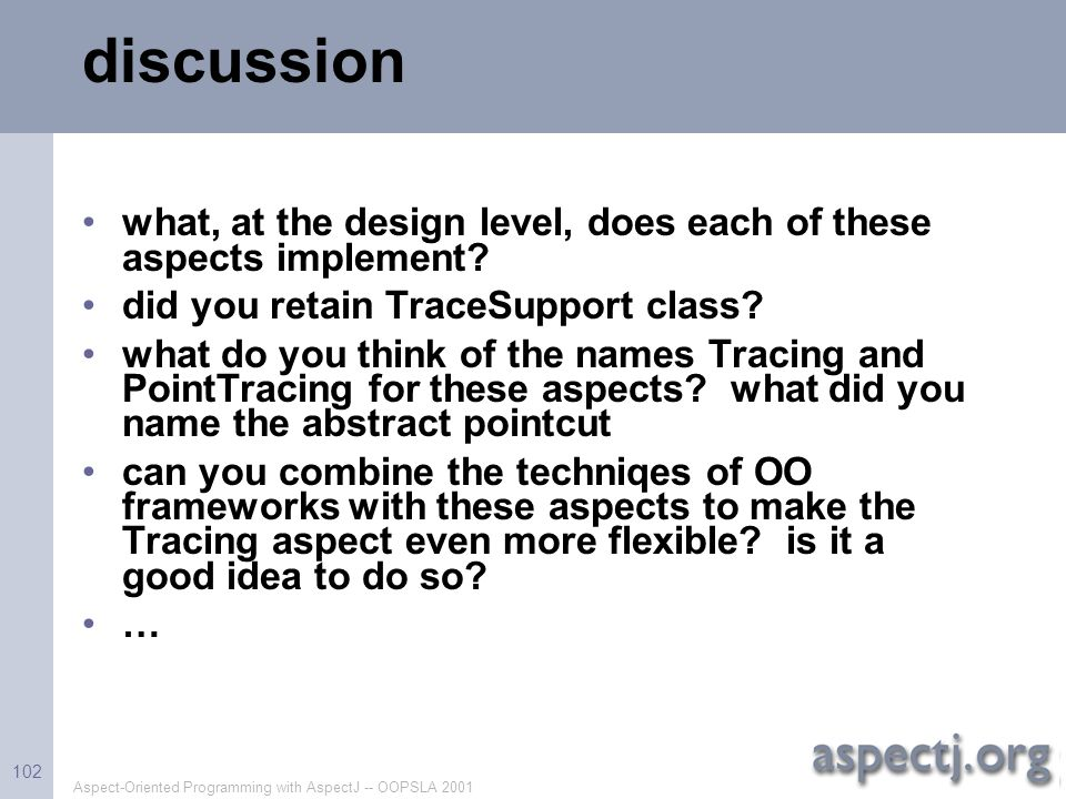 discussion what, at the design level, does each of these aspects implement did you retain TraceSupport class