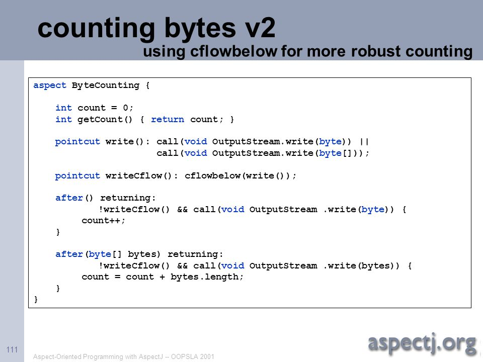 counting bytes v2 using cflowbelow for more robust counting