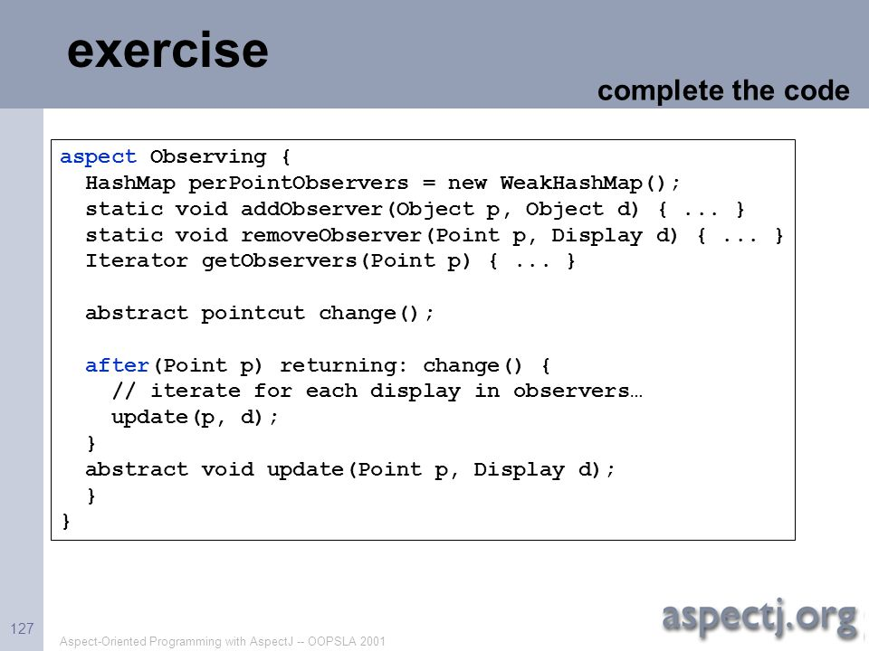 exercise complete the code aspect Observing {