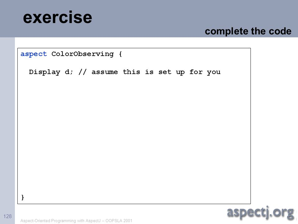 exercise complete the code aspect ColorObserving {