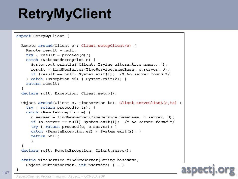 RetryMyClient aspect RetryMyClient {