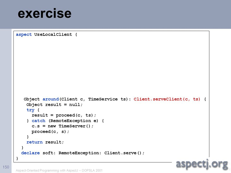 exercise aspect UseLocalClient {