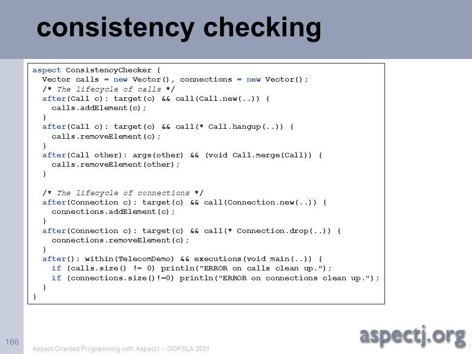 consistency checking aspect ConsistencyChecker {