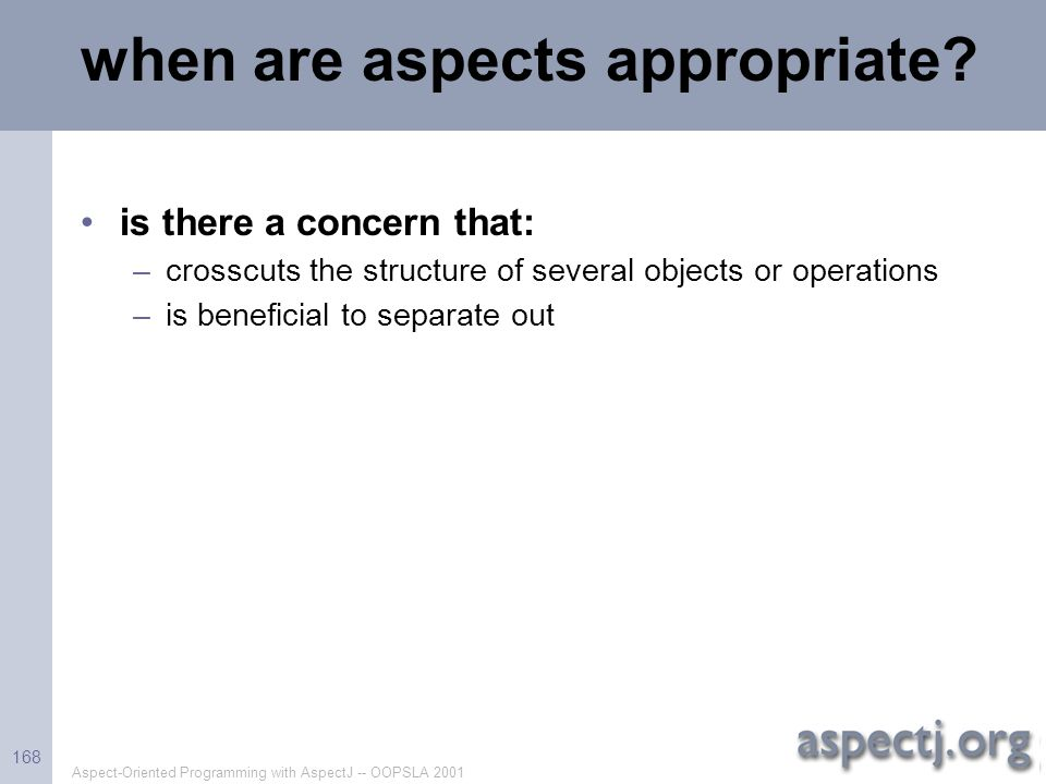 when are aspects appropriate