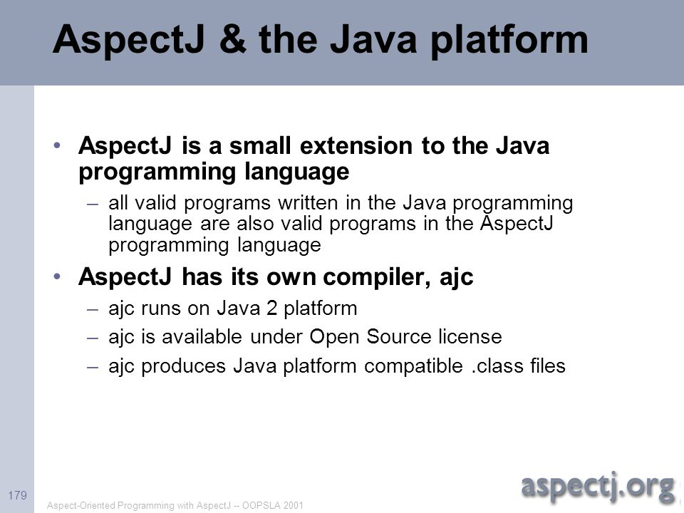 AspectJ & the Java platform