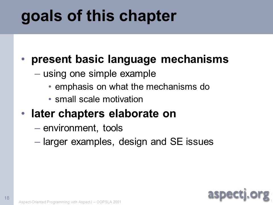 goals of this chapter present basic language mechanisms