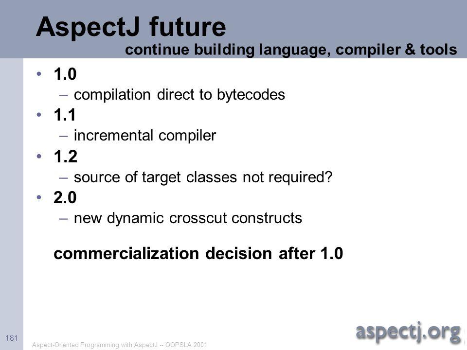 AspectJ future 1.2 1.0 1.1 2.0 commercialization decision after 1.0