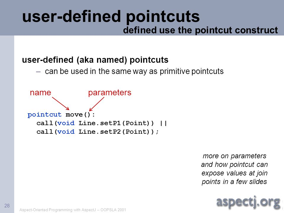 user-defined pointcuts