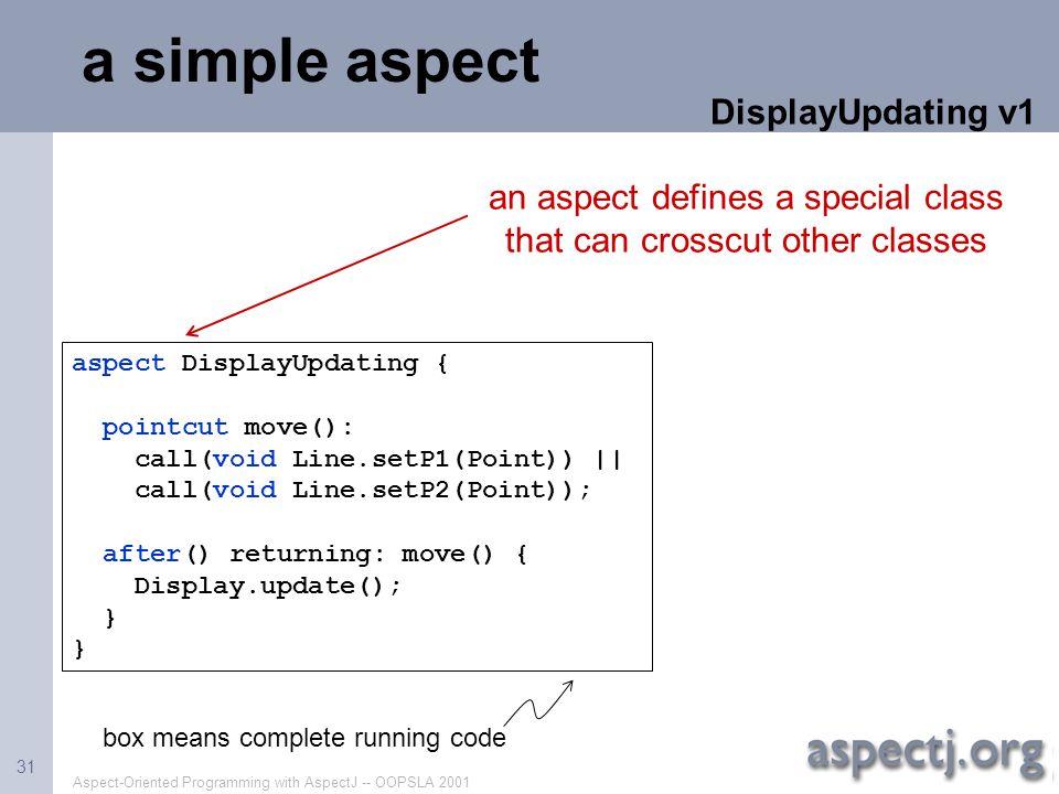 a simple aspect DisplayUpdating v1