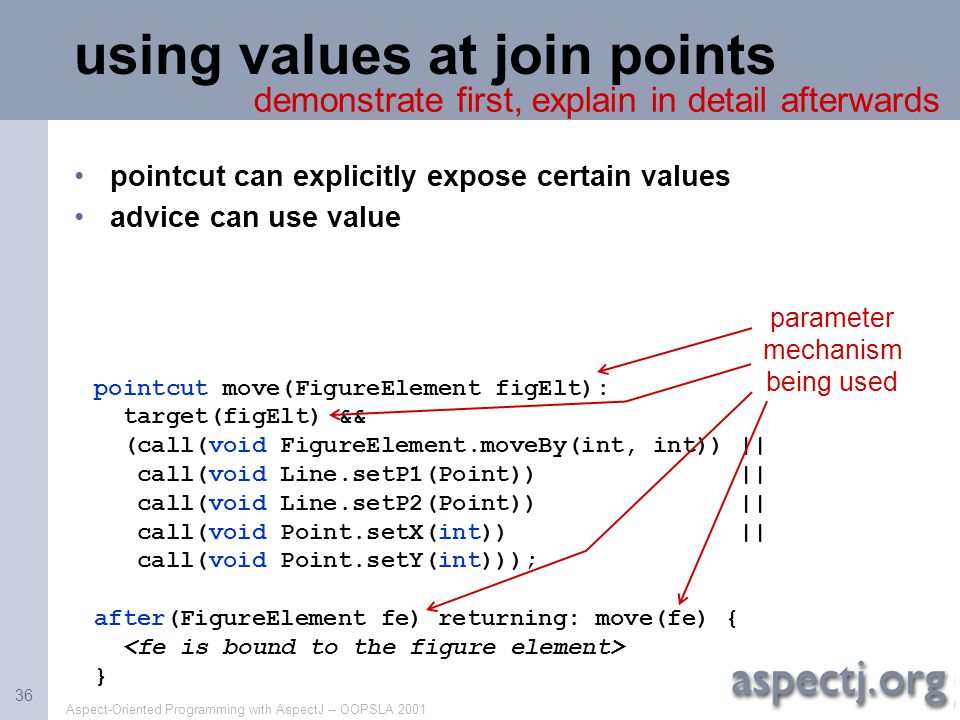 using values at join points