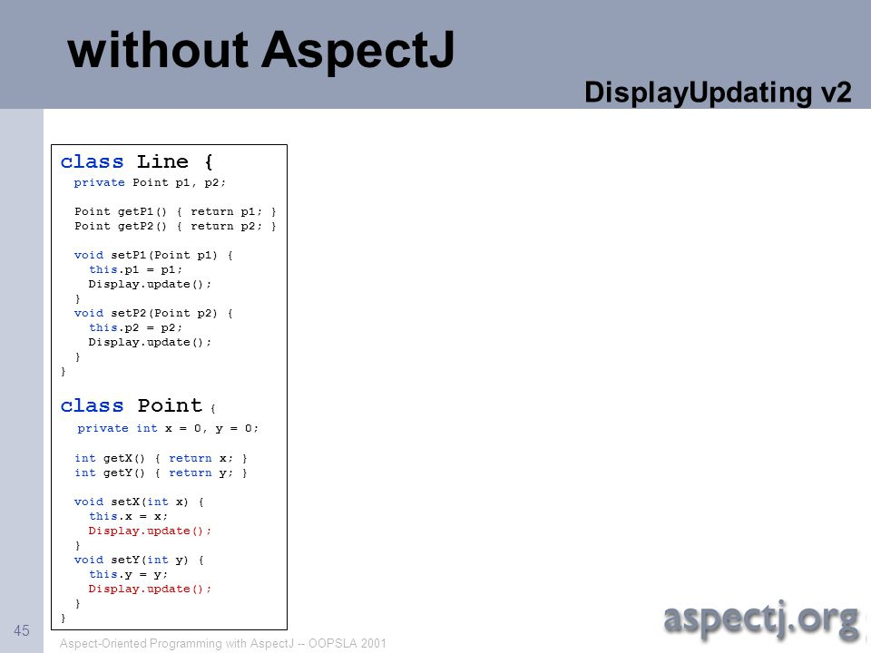 without AspectJ DisplayUpdating v2 class Line { class Point {