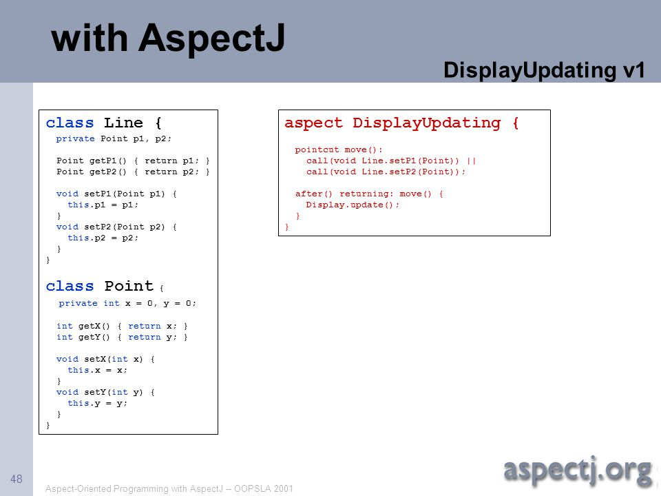 with AspectJ DisplayUpdating v1 class Line { class Point {
