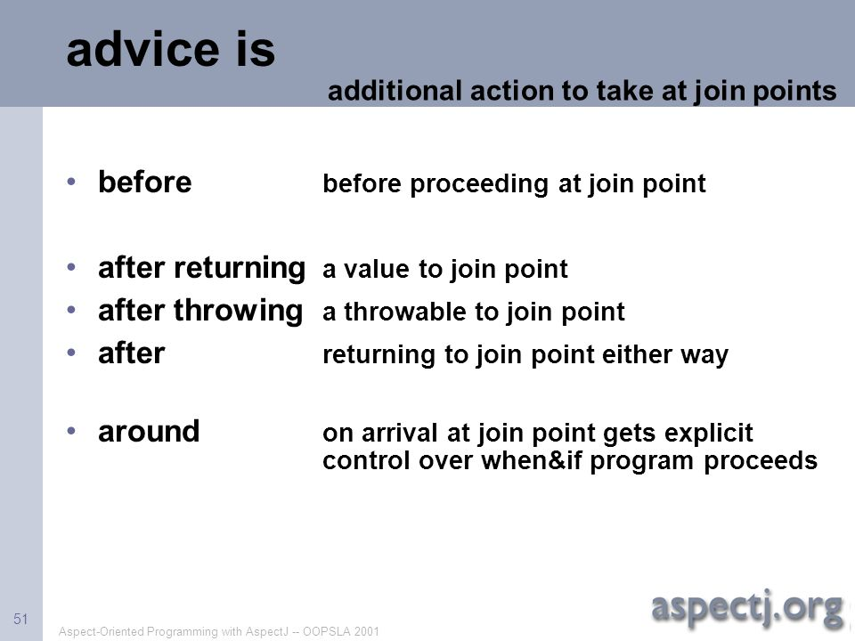 advice is before before proceeding at join point