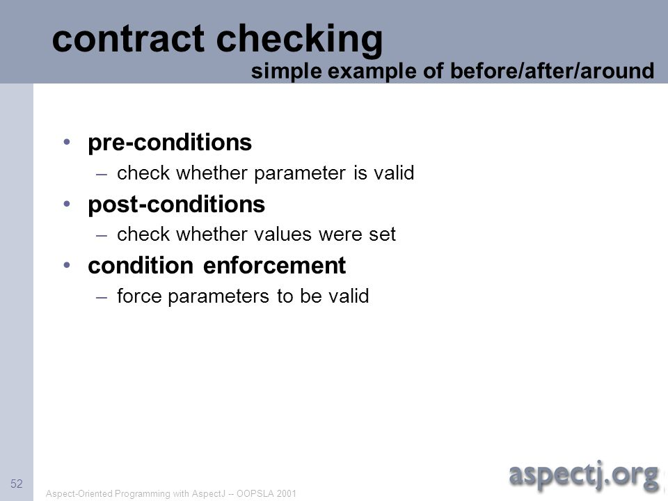 contract checking pre-conditions post-conditions condition enforcement