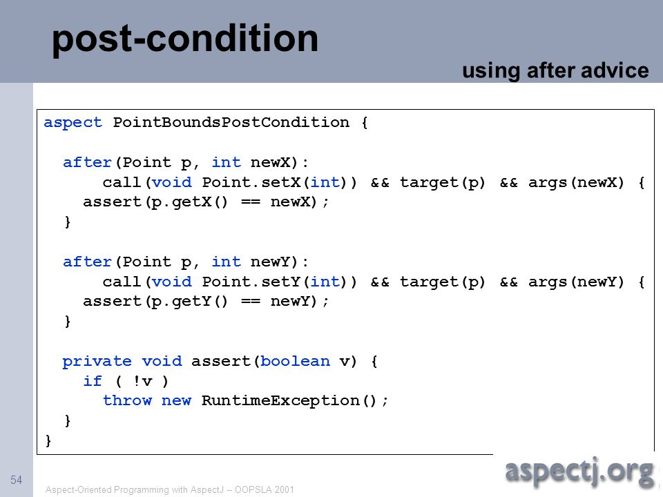 post-condition using after advice aspect PointBoundsPostCondition {