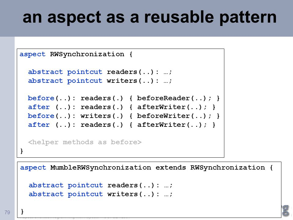 an aspect as a reusable pattern