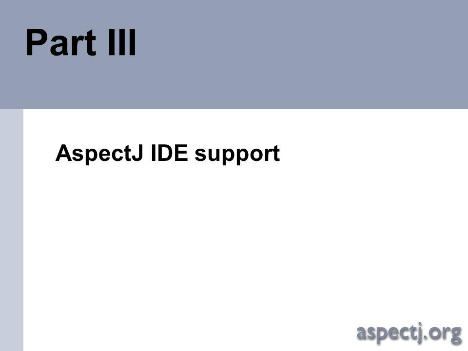 Aspect-Oriented programming with AspectJ AspectJ IDE support