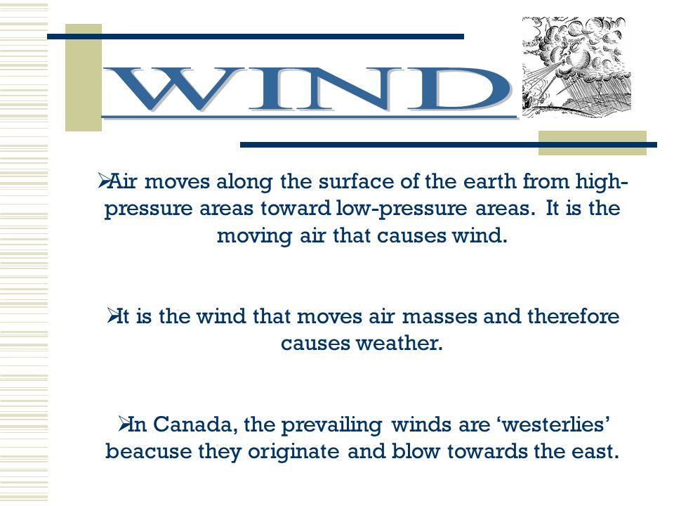 It is the wind that moves air masses and therefore causes weather.