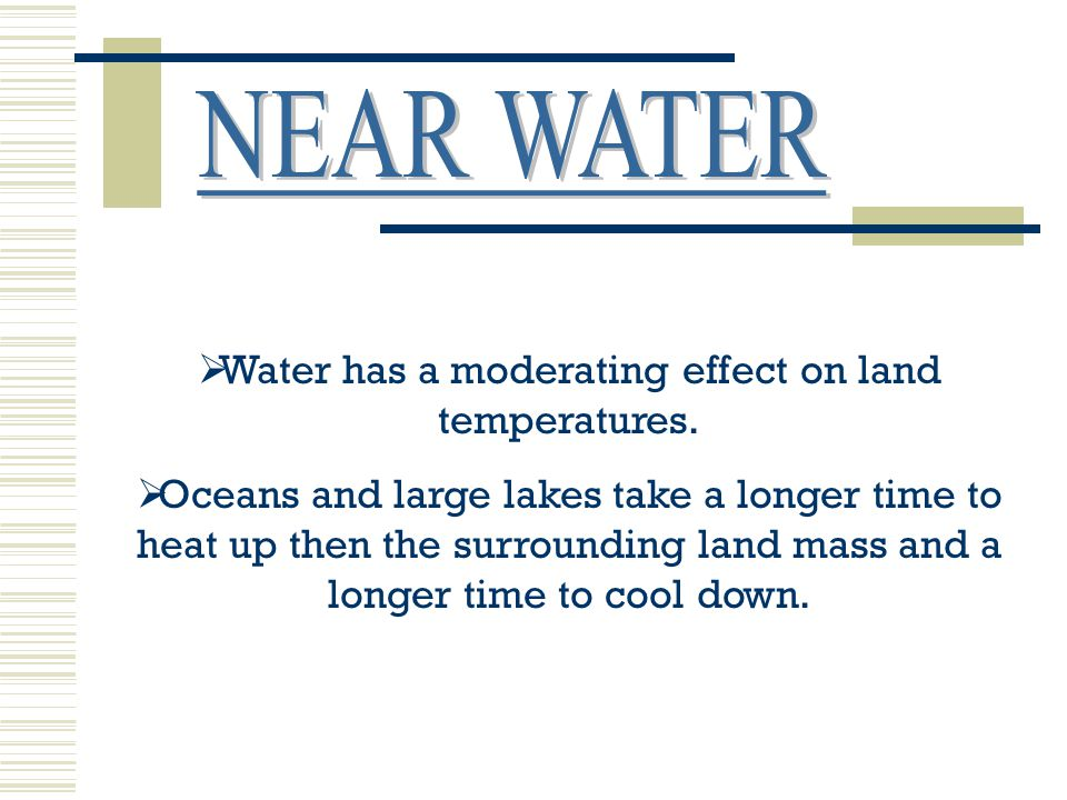 Water has a moderating effect on land temperatures.