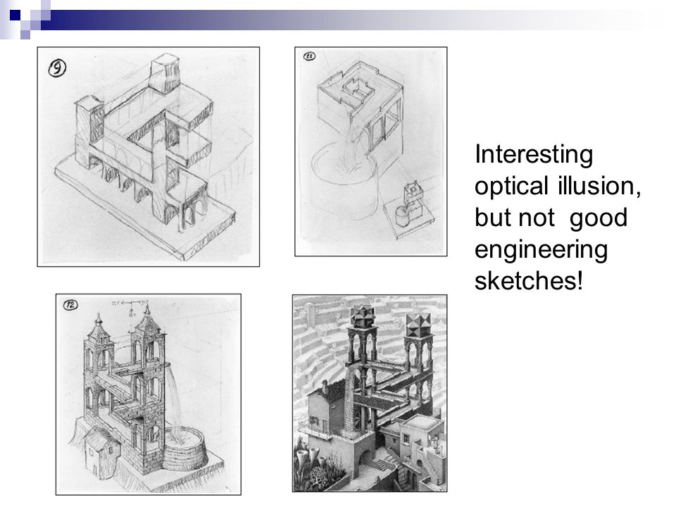 Interesting optical illusion, but not good engineering sketches!
