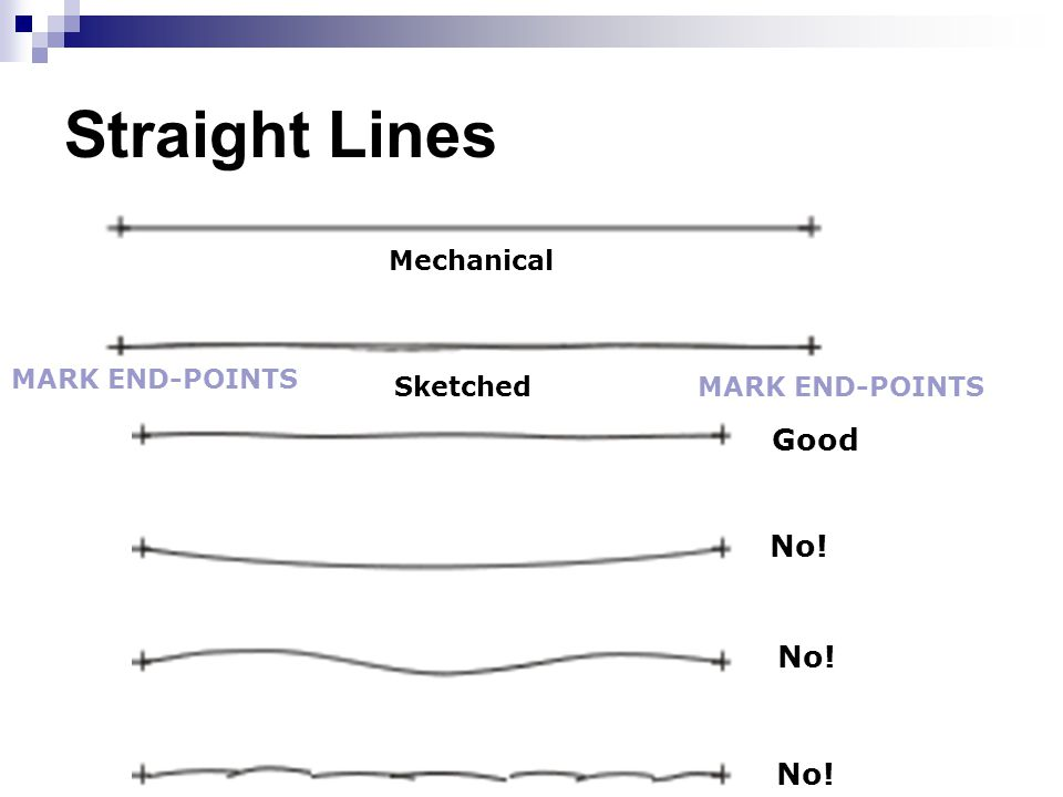 Straight Lines Good No! No! No! Mechanical MARK END-POINTS Sketched