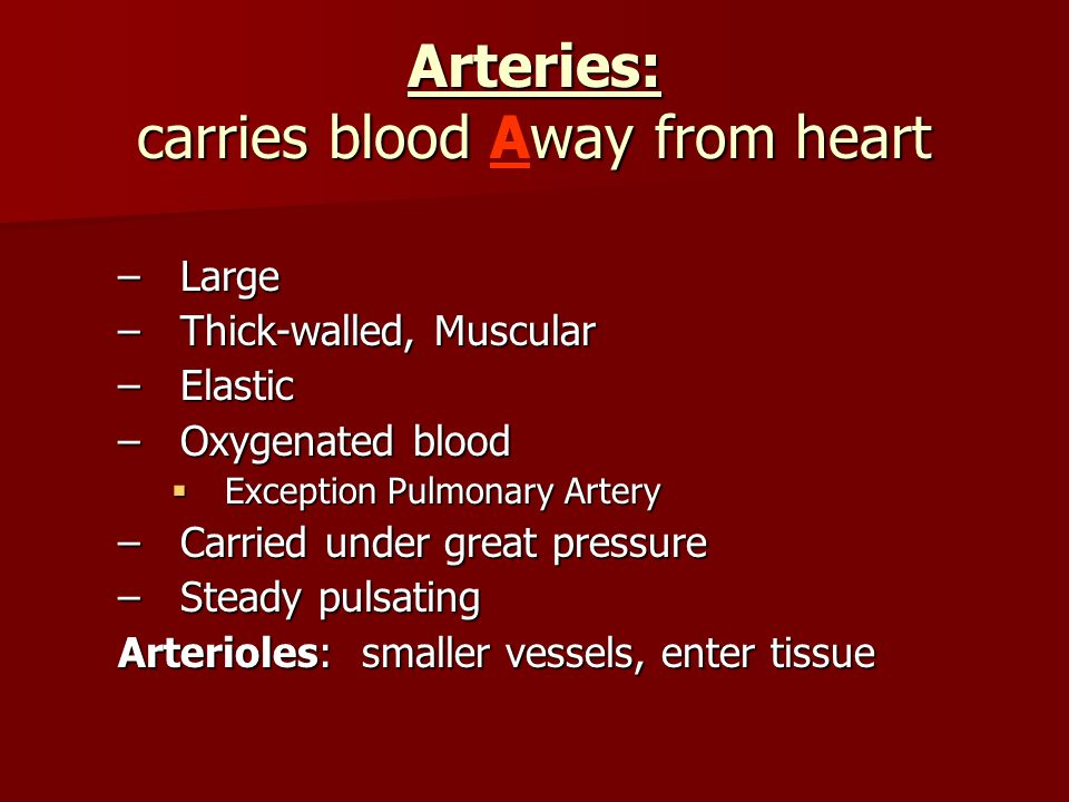 Arteries: carries blood Away from heart
