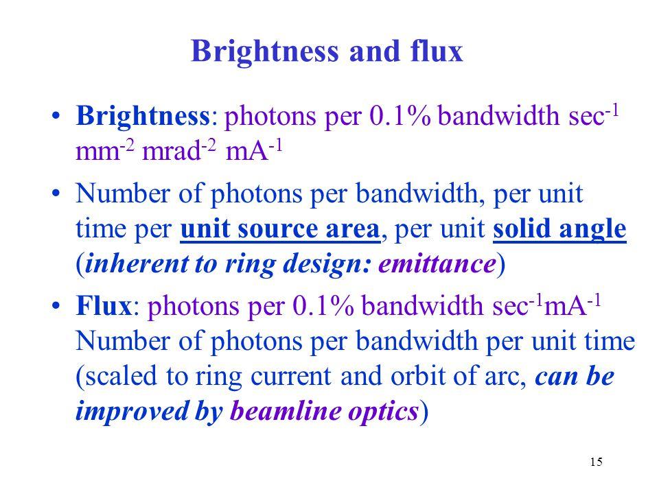 Brightness and flux Brightness: photons per 0.1% bandwidth sec-1 mm-2 mrad-2 mA-1.
