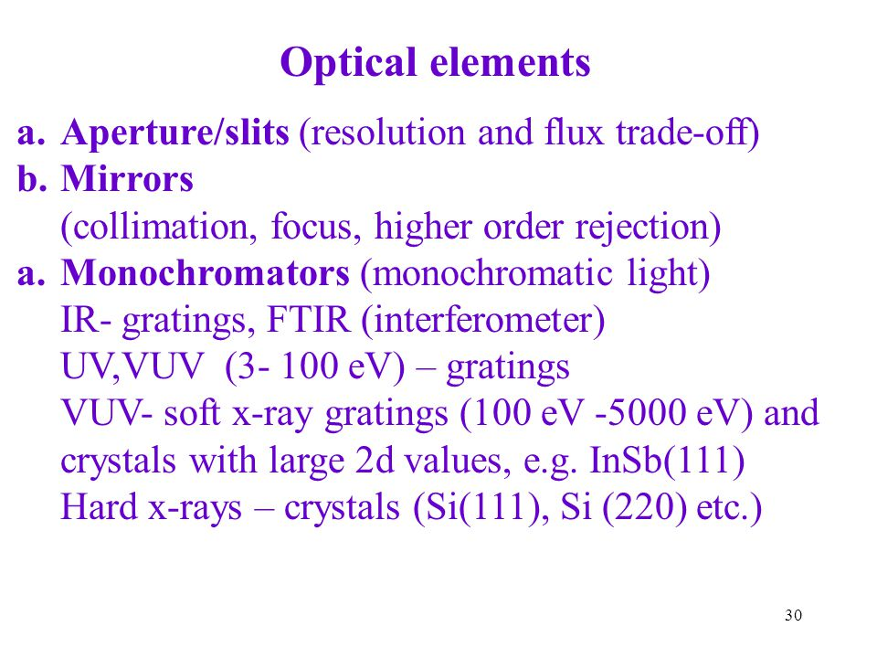Optical elements Aperture/slits (resolution and flux trade-off)