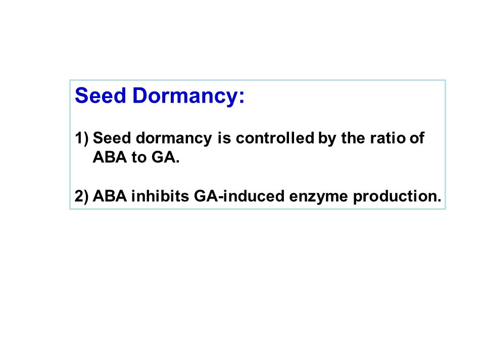 Seed Dormancy: Seed dormancy is controlled by the ratio of ABA to GA.