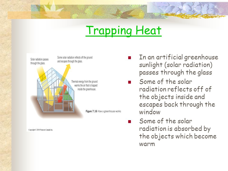 Trapping Heat In an artificial greenhouse sunlight (solar radiation) passes through the glass.