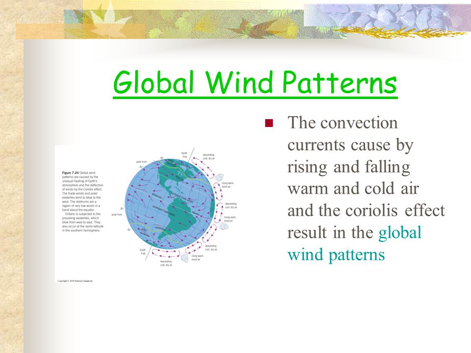 Global Wind Patterns The convection currents cause by rising and falling warm and cold air and the coriolis effect result in the global wind patterns.