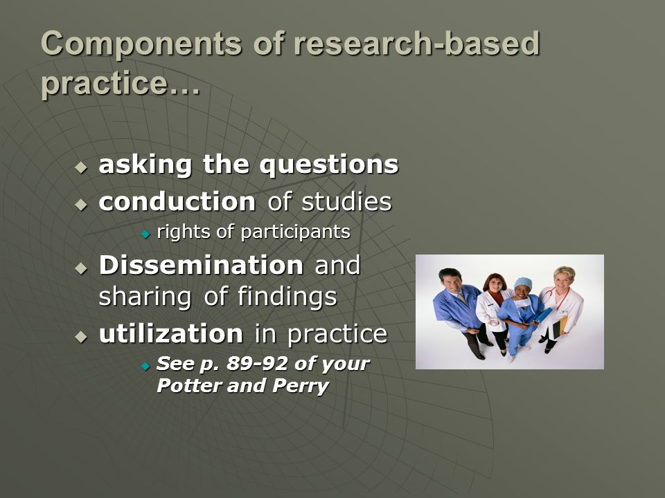 Components of research-based practice…