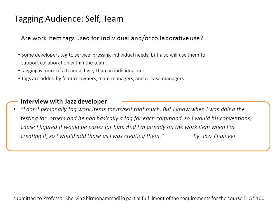 Tagging Audience: Self, Team