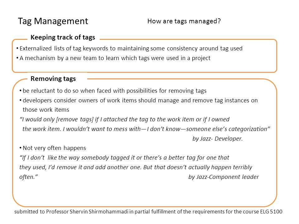 Tag Management How are tags managed Keeping track of tags