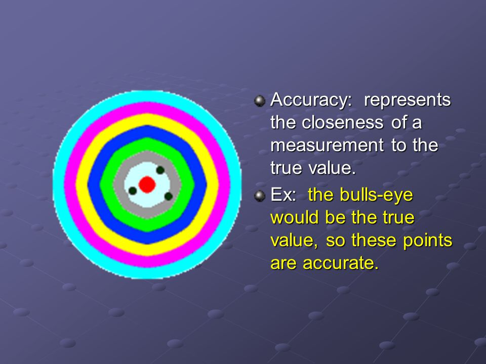 Accuracy: represents the closeness of a measurement to the true value.