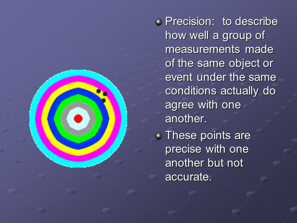 Precision: to describe how well a group of measurements made of the same object or event under the same conditions actually do agree with one another.